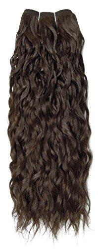 Sans chear vague trame Extension de cheveux humains avec de mélange tissage, marron foncé numéro 4, Taille M, 46 cm
