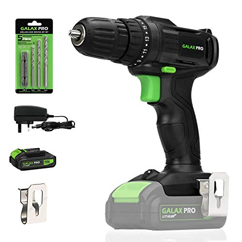GALAX PRO 20V Cordless Drill with Work Light, Max Torque(20N.m), 10mm Keyless Chuck, 19+1 Position, Single Speed (0-600RPM)- 1.3Ah Battery & Charger Included