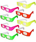 8 Pairs Prism Diffraction Fireworks Glasses - For Laser Shows, Raves by 3Dstereo Glasses
