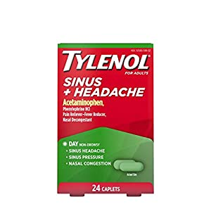 24-count box of Tylenol Sinus + Headache Daytime Caplets for non-drowsy sinus symptom and headache pain relief due to the common cold, hay fever or other respiratory allergies Pain reliever and nasal decongestant formulated to temporarily relieve sym...