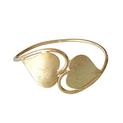 Handmade Brass Bracelet, Gold Plated Bangle, Heart Design Bangle, Simple Bracelet, Beautiful Bangle, Adjustable Bangle, Unique Gift For Her