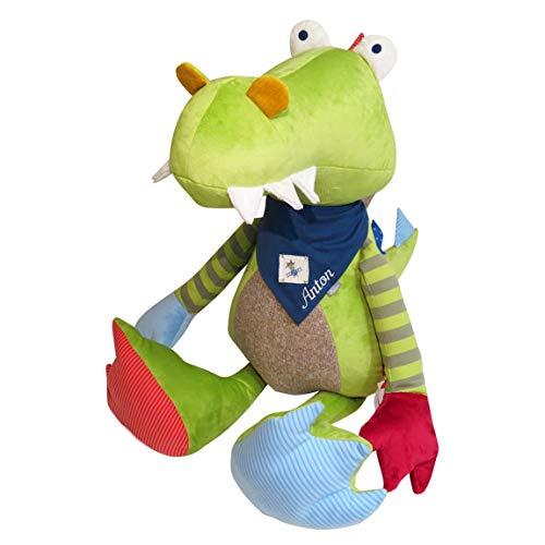 Sigikid Geschenkset XXL Drache mit Namen auf Kinder-Halstuch bestickt blau ♥ 75 cm Patchwork Sweety personalisiert mit Namen-Stickerei