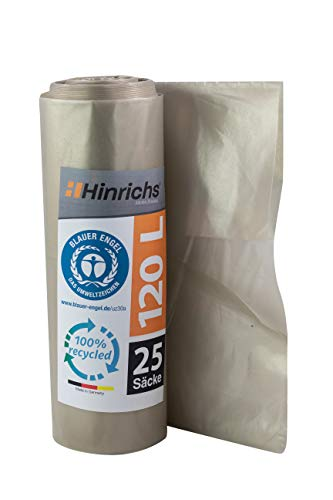 Hinrichs Bolsas de Basura 120 l - Gran Resistencia al desgarro - Rollo de 25 - Tipo 100 Extra - Sacos de Basura XXL Bolsas de Basura - 70 μ - 700 x 1.100 mm - LDPE - Transparente