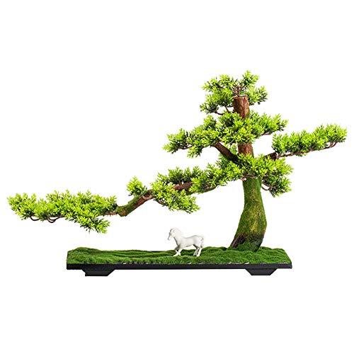 Lsqdwy Simulación de árboles Artificiales Bienvenido Pino Adornos de bonsái Plantas de bonsái Artificiales Árbol Artificial de Interior Decoración de Escritorio para Oficina en casa D & Eacute; Cor
