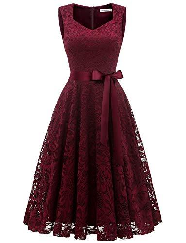 Gardenwed Damen Elegant Spitzenkleid Strech Herzform Abendkleid Cocktailkleider Partykleider Burgundy M