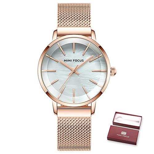 YIBOKANG Moda Creativa Nácar Superficie Señoras Acero Inoxidable 30 M Reloj Impermeable Chica Casual Simple Reloj De Esfera Pequeña Señoras Temperamento Elegante Reloj De Cuarzo Regalo De Cumpleaños