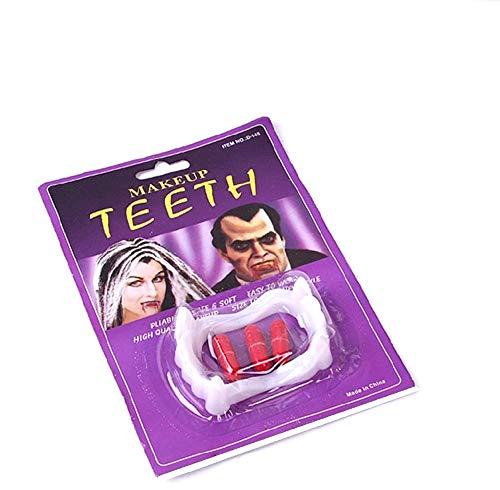 KIRALOVE Denti per Costume Vampiro - Dracula - Travestimenti Donna per Bambini - Halloween - Carnevale - Twilight - Colore Bianco - Capsule di Sangue - Uomo - Ragazzi - Idea Regalo Originale