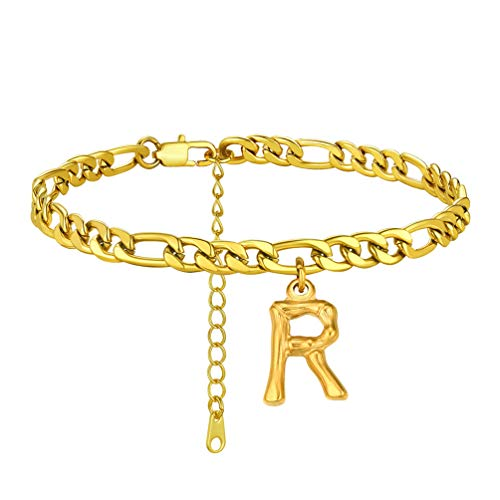 PROSTEEL Anklet Gold 18K with Letter Letter R Women's Anklets Jewelry