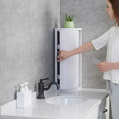 Aione Cuarto de baño Multifuncional Cocina Esquina Armario Estante de Almacenamiento de cosméticos Estante de Almacenamiento Gabinete Estante de triángulo Giratorio (Blanco)