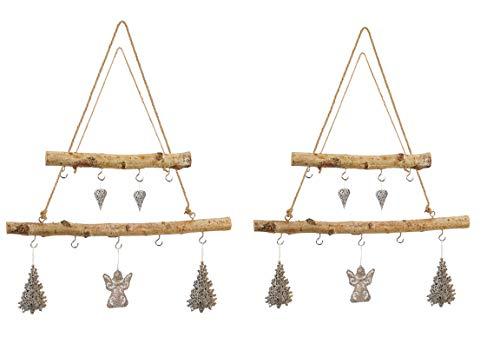Bada Bing 4er Set AST Natur Birkenast Hängeast Hängedeko Ca. 50 cm Und ca. 30 cm Naturholz Deko Wanddeko zum Hängen 2 Größen 07/08