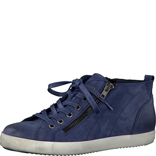 Tamaris Schuhe 1-1-25205-28 Bequeme Damen Stiefel, Boots, Stiefeletten, Sommerschuhe für modebewusste Frau, blau (Denim), EU 38