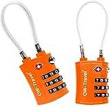 OW-Travel Candado Combinacion Cable Acero Flexible Anti robo. Candado maleta TSA numerico 3 Digitos. Candados mochila y maletas. Candado Taquilla Gimnasio. TSA candado seguridad equipaje Naranja 2