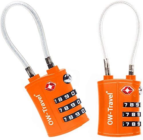 OW-Travel Candado Combinacion Cable Acero Flexible Anti robo. Candado maleta TSA numerico 3 Digitos. Candados mochila y maletas. Candado Taquilla Gimnasio. TSA candado seguridad equipaje Naran