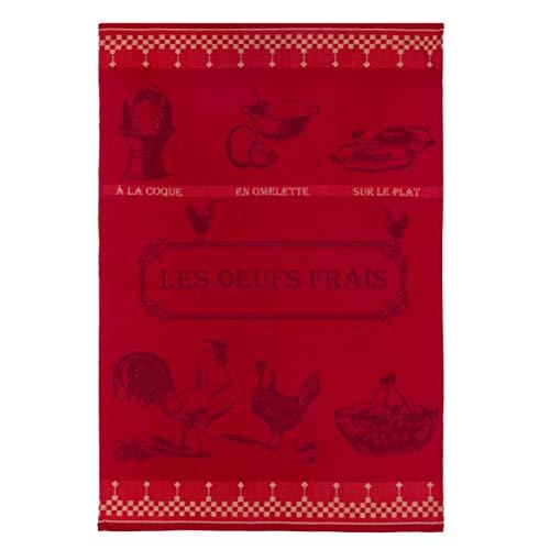 Coucke TNO-220-71029-000-CKE Torchon Jacquard Oeufs Frais, Coton, Rouge, 50 x 75 cm