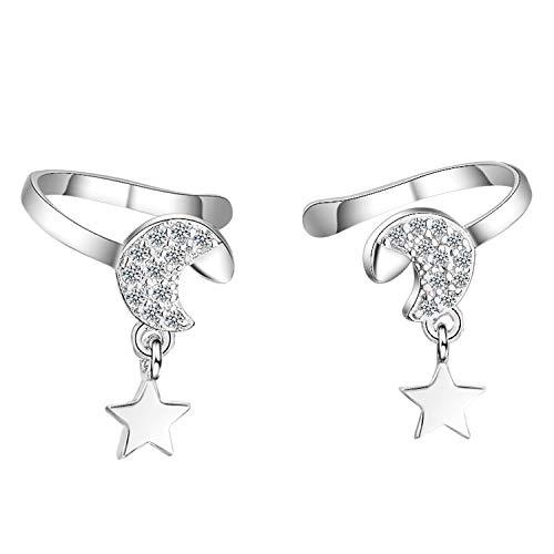 Pendiente de clip para mujer, plata 925, luna y estrella, colgante con circonitas, brillantes