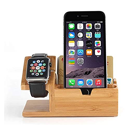 Hout Multi-apparaat Smartphone laadstation Rack Houten dockingstandaard Organizer met horlogestandaard & 3 USB-oplaadkabel Oplaadstations voor mobiele telefoons Compatibel met horlogetablet Impro