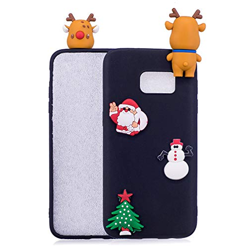 LAXIN Case Cartoon for Samsung Galaxy S7 edge, 3D Soft Back Cover Candy Colour Lovely Girly Christmas Tree Design Ultra Slim Flexible Protective Gel Rubber Bumper for Girls Kid Case Cover