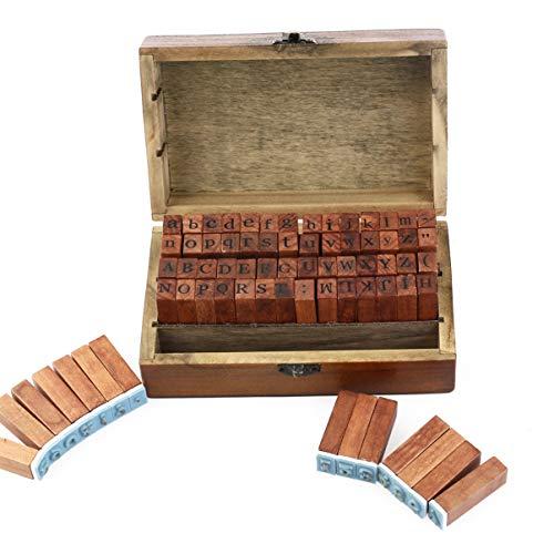 Cabilock 70 Unidades de Estilo Vintage Letras Del Alfabeto Número Símbolo Sellos de Goma en Una Caja de Madera (Color de Goma Aleatorio)