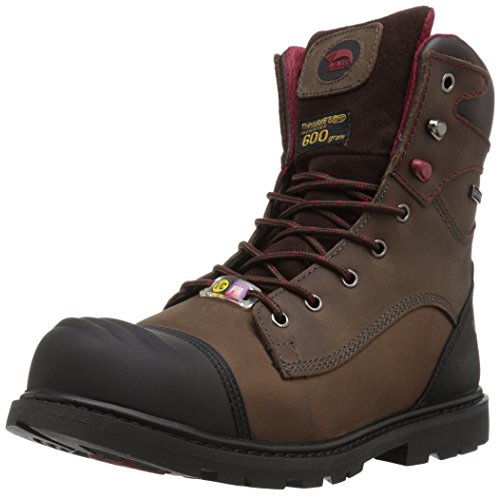 """FSI Avenger Men's Hammer 8"""" Insulated Waterproof Leather Carbon Toe Puncture Resistant EH Industrial Safety Work Boot, Brown, 12 Wide"""