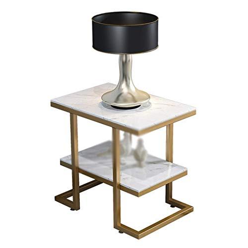 CHHD Sofa Beistelltische, Marmor Couchtisch, mehrschichtiger schmiedeeiserner Couchtisch für Schlafzimmer Lounge Büro Wohnzimmer Ecke Dekorativer Tisch Design Lounge Tisch Snack Tisch
