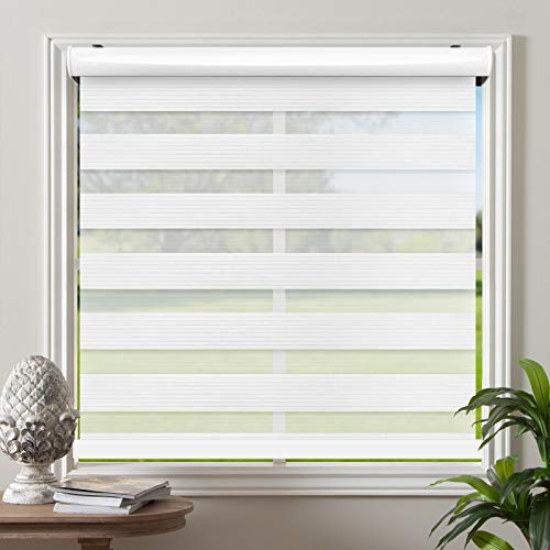 Biltek Cordless Zebra Roller Blinds Sheer Shades/Free-Stop Combi Blinds, Dual Layer, Sheer or Privacy - White, 50' W X 72' H