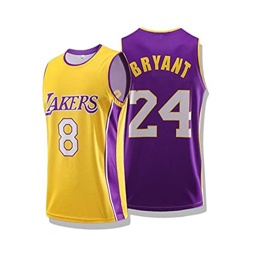 Herren Basketball Jersey, Kobe Bryant # 8+ 24 - NBA Lakers Gedenk Trikot, Cooles Atmungsaktives Gewebe, City Edition Jersey Swingman Mesh Basketball Jersey
