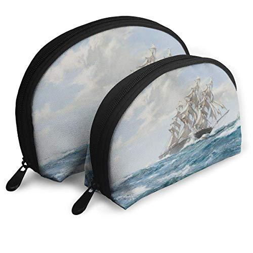 XCNGG Bolsa de almacenamiento Barco de vela con motor de vapor Bolso de maquillaje de viaje portátil Organizador de artículos de tocador impermeable Bolsas de almacenamiento