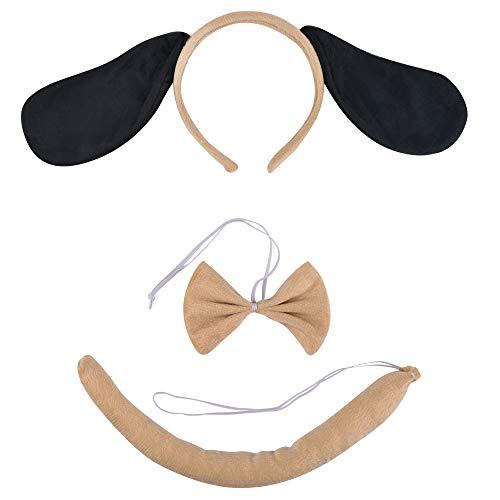 Kinzd Puppy Dog Headband Ears and Tail Dog Ears Headband Brown Costume Ears and Tail