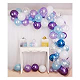 Shimmer and Confetti 92 Pack Frozen Birthday Party Supplies - Frozen Balloon Arch and Garland Kit. Purple, Blue, Snowflakes, Chrome Balloons. Perfect for Christmas, Birthdays & Baby Showers
