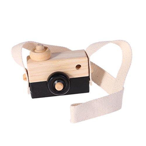 Houten Speelgoed Camera Kinderen Creatieve Nek Opknoping Touw Speelgoed Fotografie Zwart