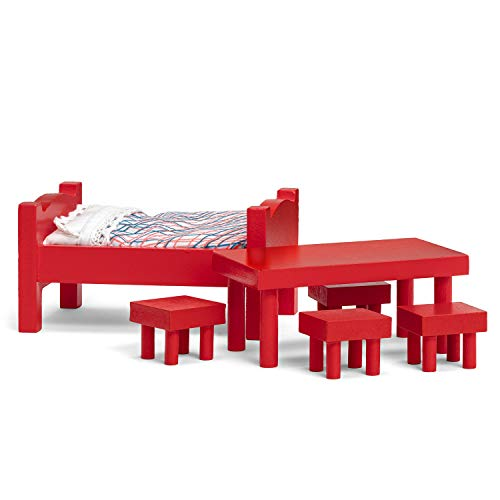 Micki & Friends 44-380900 - Pippi Langstrumpf Möbelset aus Holz für Puppenhaus Villa Kunterbunt - 10-teilig - Esstisch, Hocker, Bett, Kissen, Bettdecke - ab 3 Jahre