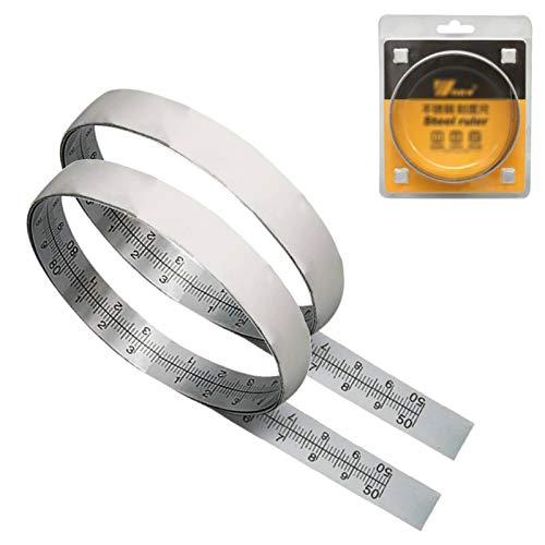 Regla autoadhesiva de acero inoxidable, cinta métrica de metal, para herramienta de medición de sierra de mesa para trabajar la madera, 2 piezas (60CM)