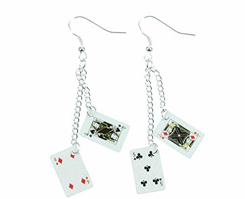 Miniblings Spielkarten Skat Kartenspiel Ohrringe - Handmade Modeschmuck I Karten Kasino Poker 2er Kettchen - Ohrhänger Ohrschmuck versilbert