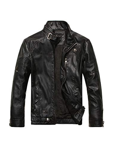 PASOK Men's Faux Leather Jacket Vintage Stand Collar Motorcycle PU Leather Outwear Coat 8822 Black M