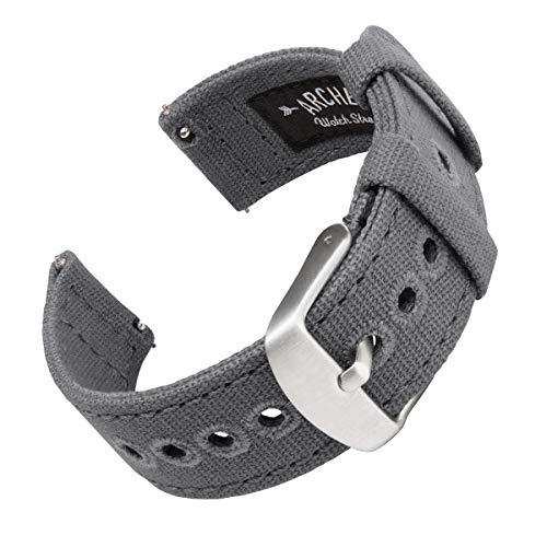 Archer Watch Straps | Cinturini Ricambio da Polso a Sgancio Rapido in Tela per Orologi e Smartwatch, Uomini e Donne (Grigio Ardesia, 22mm)