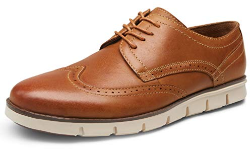 VOSTEY Men's Dress Shoes Leather Casual Oxfords Plain Toe Casual Derby Shoes (9.5,Leather prince727-yellow Brown)