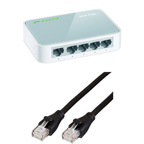 TP-Link TL-SF1005D Netzwerk Switch 5 Ports, 10/100MBit/s RJ45 mit Amazon Basics Ethernet-Netzwerkkabel, RJ45, Cat6, 1,5 m