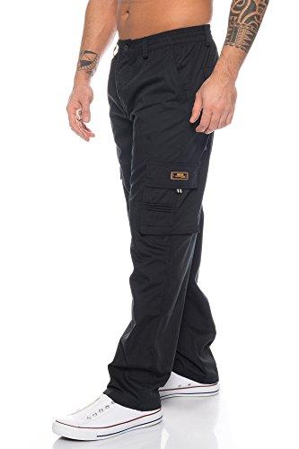 Benk Herren Cargo Hose Cargo Pants Unifarbe Arbeitshose Cargohose Cargopants Dehnbund (Schwarz, XXXL)
