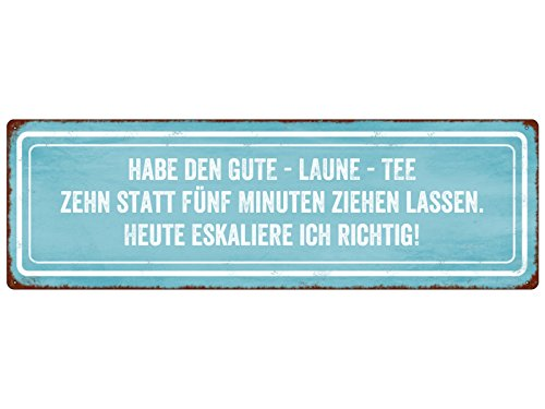 Interluxe METALLSCHILD Türschild Habe DEN Gute - Laune - Tee Lustig Spruch Shabby Vintage