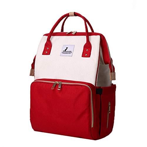 qiqiu Wickelrucksack Wickeltasche multifunktional Mumienbeutel multifunktionale Oxford-Stoffwindeltasche mit großer Kapazität - Rot und Weiß Große Kapazität Babytasche