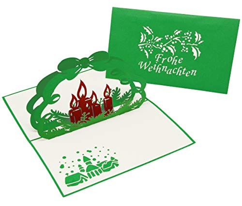 Besinnliche Weihnachtskarte - festliche Klappkarte für Weihnachtsgrüße - 3D Pop-Up Karte für Weihnachten mit Kerzen - gut geeignet als Weihnachtsgeschenk und Gutschein
