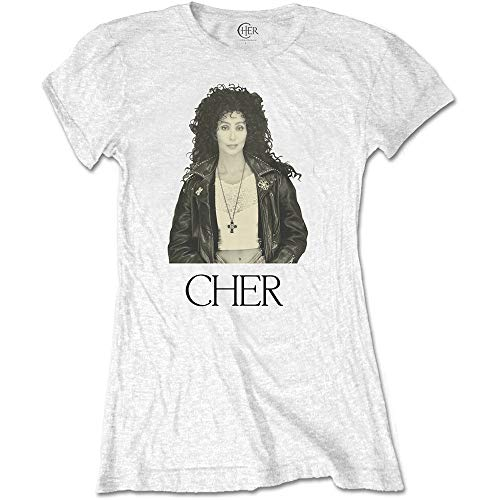 Cher T Shirt Leather Jacket Logo Official Womens Junior Fit White Size XXL