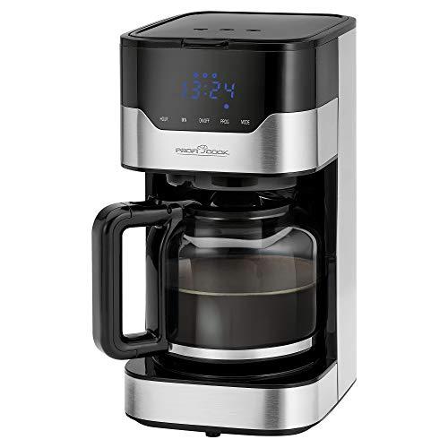 Profi Cook ProfiCook PC-KA 1169 - Cafetera automática (función de selección de aroma, sensor táctil, temporizador digital de 24 horas, 1, 5 litros, acero inoxidable, 1, 5 L), color negro