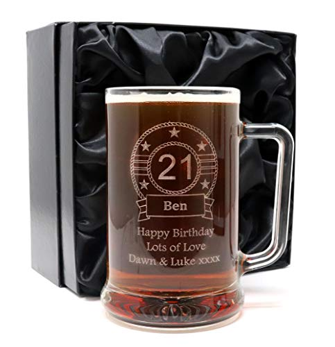 Engraved/Personalised *New Birthday Design* Pint Glass Tankard Gift Boxed (Silk Lined Gift Box)