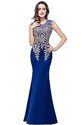 Rhinestone Royal Blue Long Lace Mermaid Dress