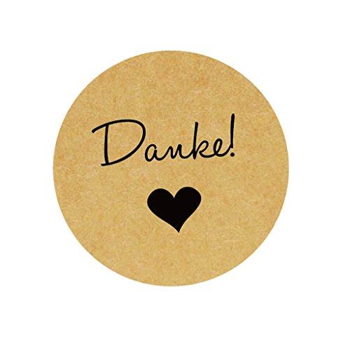 eKunSTreet ® 96 Stück Kraft Danke Aufkleber Sticker - 4 cm selbstklebende Papieraufkleber Etiketten für Gastgeschenk,Vintage Hochzeit,Flaschen,Tüten, Briefen, Danksagungen
