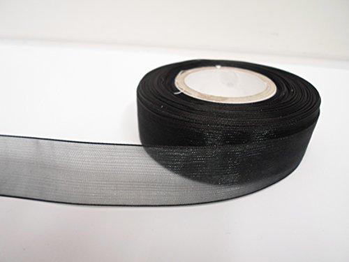 Beautiful Ribbon 1 Rouleau de Ruban d'organza 25 mm 2.5cm x 25 mètres Noir Double Face 25 mm