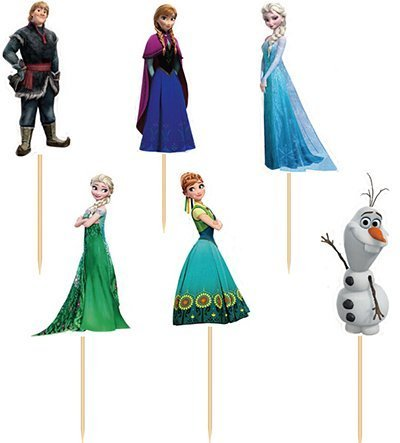 Set of 24 Pieces Frozen Cake Cupcake Decorative Cupcake Topper for Kids Birthday Party Themed Party