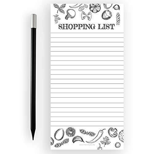 Friendly Fox Einkaufsliste magnetisch - Shopping to do listen block - 1x Magnetblock Kühlschrank mit 50 Einkaufszettel &. Magnetstift - Kühlschrankblock (Lebensmittel)