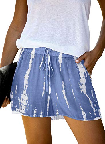Dokotoo Womens Shorts for Summer Casual Comfy Drawstring Beach Elastic Midi Rise Waist Cotton Tie Dye Vacation Shorts with Pockets Blue Large